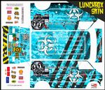 Blue Biohazard Response themed vinyl SKIN Kit & Stickers To Fit Tamiya Lunchbox R/C Monster Truck